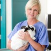 Female Vet with Rabbit